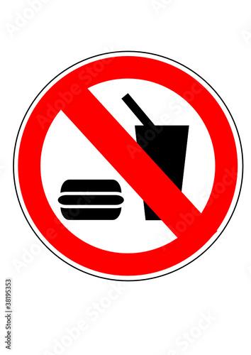 Vektor: schild essen und trinken verboten
