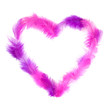 Heart in pink feathers isolated on white