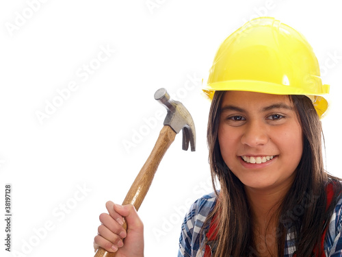 smiling girl with construction helmet
