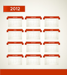 Vector Red Vintage retro calendar for the new year 2012