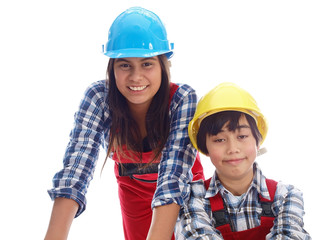 kids in construction workwear