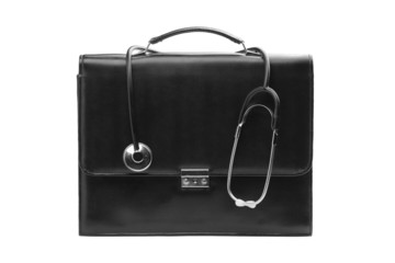 A studio shot of a doctor's case with a stethoscope