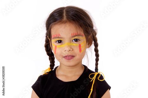 enfant avec couettes et maquillage indien pour spectacle cole photo libre de droits sur la. Black Bedroom Furniture Sets. Home Design Ideas
