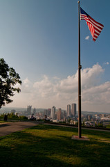 Pittsburgh Skyline with US Flag