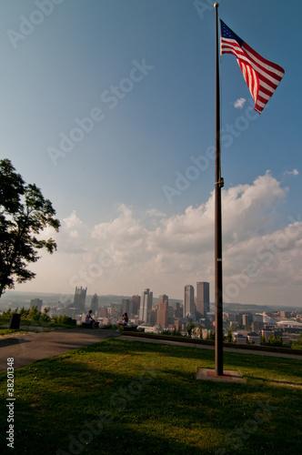 Pittsburgh Skyline with US Flag