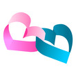 Entwined blue and pink hearts over white background