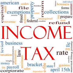 Income Tax Word Cloud concept