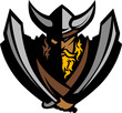 Viking Norseman Mascot Graphic with Helmet and Swords