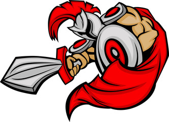 Trojan Mascot Body with Sword and Shield Cartoon Vector Illustra