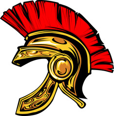 Spartan Trojan Helmet Mascot Vector Image.