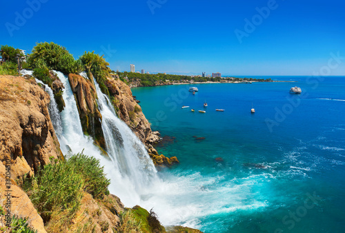 Leinwanddruck Bild Waterfall Duden at Antalya, Turkey