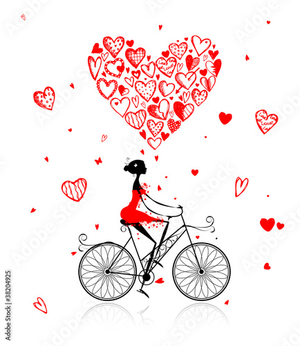 Girl cycling with big red heart for valentine day © Kudryashka
