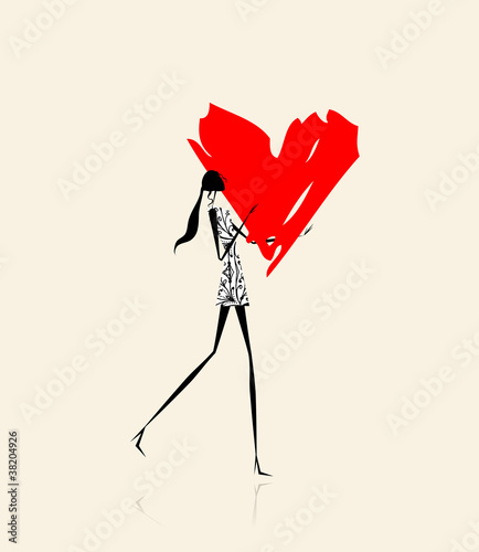 Valentine day. Girl with big red heart © Kudryashka