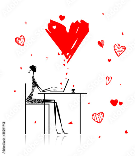 Valentine day. Girl with laptop in cafe © Kudryashka