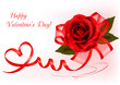 Valentine background. Red roses with red ribbons