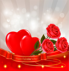 Valentine background. Red roses with red hearts.