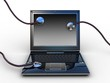 Stethoscope on black laptop, computer , 3D