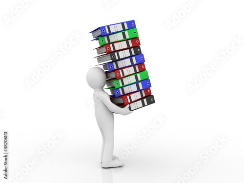 Folder for documents and man, 3D
