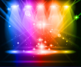 magické reflektory s duhy paprsky