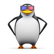 3d Penguin is impressed with 3d glasses