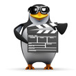 3d Penguin works in the movies with a clapperboard