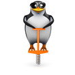 3d Penguin takes a pogo stick to work