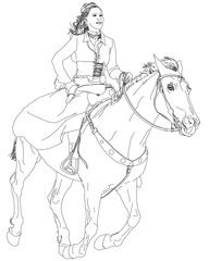 girl riding a horse. series of Wild West