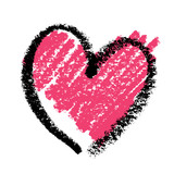Abstract pink heart, painted with lipstick