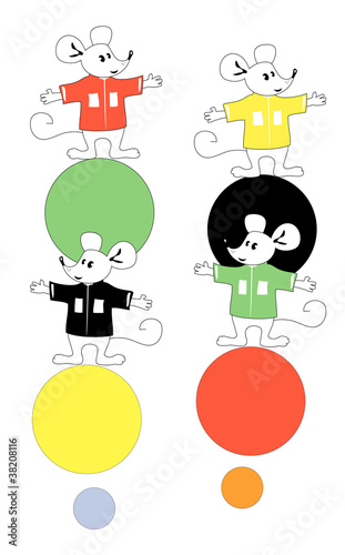 Amusing little mice on color spheres