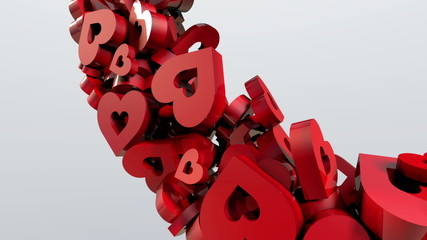 A stream of red valentine hearts makes one big heart.
