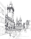 Old Town Square, Prague, Czech Republic - a vector sketch