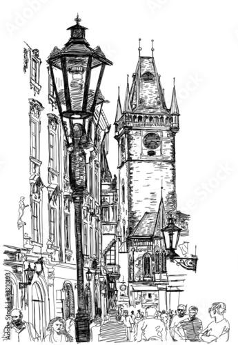 Prague, Czech Republic - a vector sketch