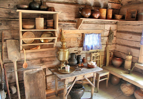 Interior of russian izba