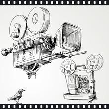 caméra - dessiné à la main ensemble