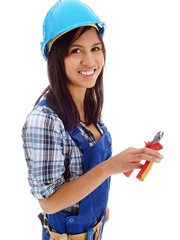 smiling female electrician