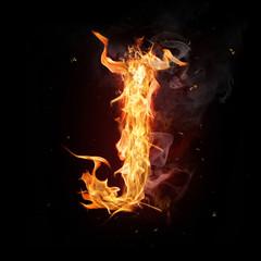 "Fire alphabet letter ""J"""