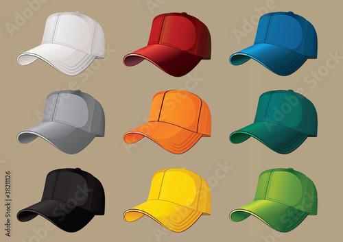 Baseball caps.