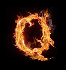 """Fire alphabet letter """"Q"""""""