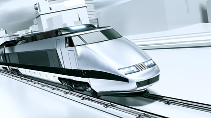 Futuristic white train