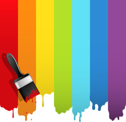 Brush with rainbow paint. Abstract vector illustration.