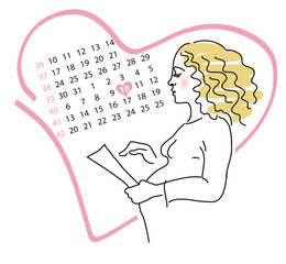 The pregnant of woman calculates the day of births