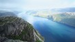 Norway fjord panorama from Preikestolen mountain