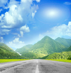 summer day and road as travel background