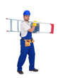 Handyman or worker carrying metallic ladder