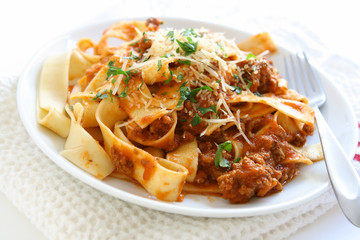 Pappardelle Pasta with Meat Sauce