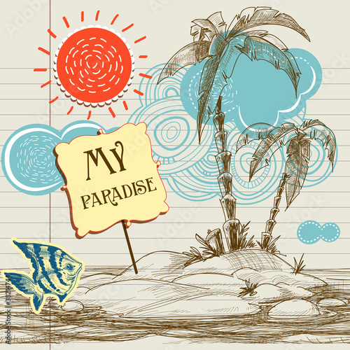 Tropical paradise background, sea holiday flyer - 38214744