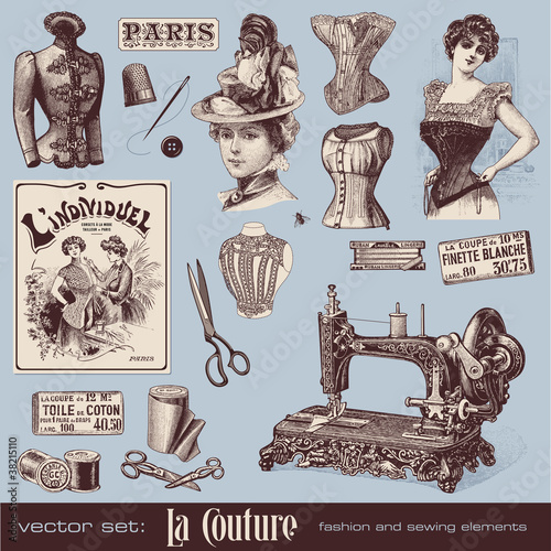 vector set: fashion and sewing (1900)