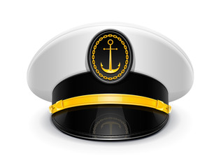 captain peaked cap with cockade vector illustration isolated
