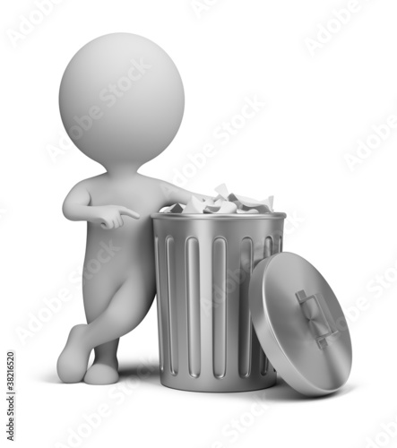 3d small people - trash can