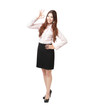 business woman showing OK hand sign happy smile